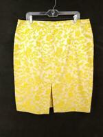 BANANA REPUBLIC Gold Jacquard 100% Silk Brocade Pencil Skirt Career Women's 16