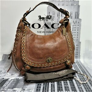 Coach Abbey Chelsea Brown Tobacco Studded Lace Leather Satchel Hobo Bag 10971