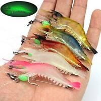 6x Luminous Fishing Lure Bait Artificial Shrimp Lures Soft Plastics Hook 9cm 6g