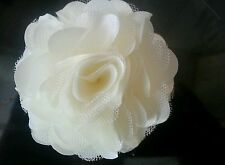 "3""satin net Fabric Ivory cream Flower.DIY.  Bridal prom dress hair etc Felt back"