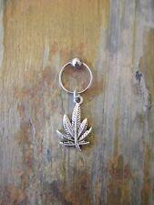 """Silver Pot Leaf Cartilage Piercing Captive Ring Tragus Earring 16 Gauge 1/2"""""""