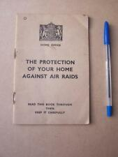 Militaria Ephemera .The Protection Of Your Home Against Air Raids 1938 36 pages