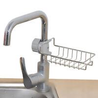 Stainless Steel Kitchen Sink Faucet Sponge Soap Drain Rack Storage Holder Shelf