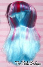 MONSTER HIGH CREATE A MONSTER ICE BLOB GIRL DOLL REPLACEMENT BLUE PINK WIG ONLY
