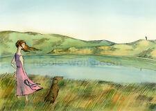 ACEO archival PRINT - Across the Lake - animal, Labrador dog, pet, landscape art