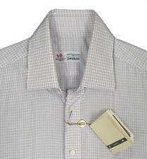 NEW Borrelli Luxury Dress Shirt!  16 Reg  White Blue & Brown Plaid  Hand Made
