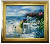Framed, Relaxing on the Beach, Quality Hand Painted Oil Painting 20x24in