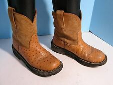 LADIES ARIAT FATBABY SUEDE OVER FAUX OSTRICH TAN COWBOY WESTERN BOOT SIZE 7 B