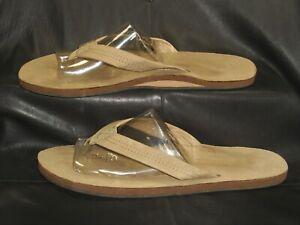 Rainbow men's natural tan nubuck leather thong mule sandal flip flop shoes