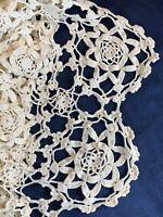 Hand crocheted bedspread approximately 95 X 83 ecru ivory star pattern Vintage