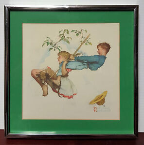 """Norman Rockwell """"The Swing"""" 1976 10"""" x 10"""" B&B USA Framed Collector's Print"""