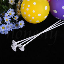 30pcs White Balloon Sticks Plastic Holder Accessories Party Latex Balloon Stick
