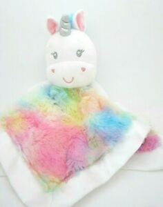 Baby Starters Baby Security Blanket White Unicorn Blankie Yellow / Blue Accent