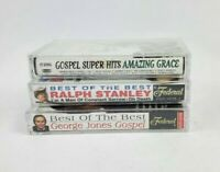 Lot of 3 Gospel Bluegrass Cassettes George Jones Ralph Stanley Various Artists
