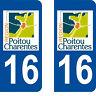 Département 16 sticker 2 autocollants style immatriculation AUTO PLAQUE