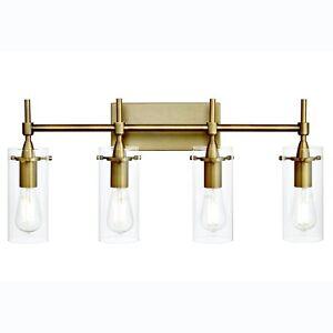 NEW Moder Farmhouse Linea Lighting Effimero 4 Light Brass Gold Wall Sconce Glass