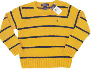 NEW Polo Ralph Lauren Boys Crewneck Sweater!  L  (16-18)   Yellow & Navy Stripe