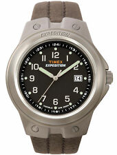 Mens Timex Indiglo Expedition Brown Leather Band Black Dial Date Watch T49631
