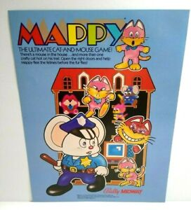 Mappy Arcade FLYER 1983 Original NOS Video Game Retro Artwork Sheet Bally Midway