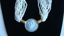 COLLIER WEDGWOOD JASPER  CAMEE 1988 ARGENT VERMEIL STERLING CAMEO