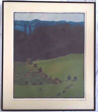 "1968 Linda Plotkin Landscape Lithograph in Colors Titled ""Buffalo Run"" 89/120"