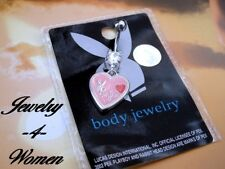 PLAYBOY Bunny PLAYMATE Belly NAVAL 14 Gauge RING 316L SS Silver CRYSTAL & ENAMEL