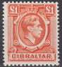 Gibraltar 1938 Mint Mounted £1 Orange SG131 BARELY HINGED