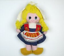 Vintage Mid Century Felt Cloth Doll Big Eyes Dutch Girl
