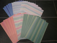 30 A4 SHEETS OF STRIPED COLOURED PAPERS--NEW--6 COLOURS--