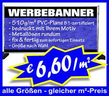 €6,60/m² PVC-Plane 510g/m² B1 geöst Werbebanner Werbeplane Digitaldruck WERBUNG