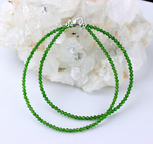 Chromdiopsid Necklace Faceted Ball Green Women's Noble Gift 17 11/16in Long