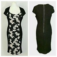 White Floral Lemon Ruch Front Wiggle Pencil Smart Office Shift Dress Size 8-18