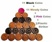 Carrom Board Coins 24 Piece Rosewood coins with 3 Plastic Strikers free