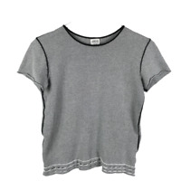 Armani Collezioni Womens Knit Top Size 12 Black White Made in Italy Short Sleeve