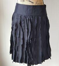 Ann Taylor Skirt Womens Size 0 Black Pleated Silk Overlay