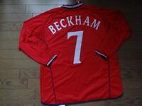 d9f3f9a1a0 England  7 Beckham 100% Original Soccer Jersey XL 2002 World Cup Away LS NWT