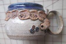 "Beautiful HEAVY Pottery Mug Signed ""DAVE 78""  Blue Glaze Rim With Unique Design"