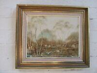 Australian Oil Painting  Australian Landscape  ' Signed  Bernard Framed Vintage