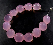 12  ROSE PINK CHALCEDONY FACETED ONION BRIOLETTE BEADS 7mm  C20