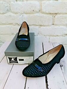 VINTAGE 1960'S KAYS BLACK SUEDE AND PATENT HEELED SHOES BNIB SIZE 5
