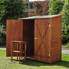 Small Garden Shed Outdoor Wooden Storage Cabinet Double Door Unit With Table