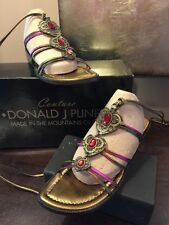 DONALD J PLINER Couture Leg Wrap Leather Strappy Flat Sandals Sz 7N Bronze Red