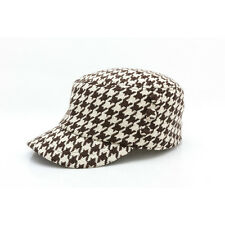 Women Lady Winter Autum Houndstooth Military Hats Cadet Patrol Army Newsboy Caps