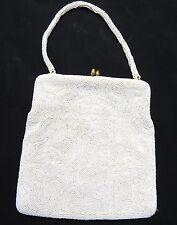 "Vintage Magid White Micro Beads Evening Purse Handbag 7"""