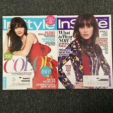 InStyle  4/13 & 8/14 Zooey Deschanel, April 2013 & August 2014 Lot Of 2