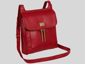 PORTOBELLO W11 LORNA BERRY RED GENUINE LEATHER CROSS BODY SHOULDER BAG BRAND NEW
