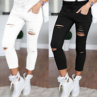 Women High Waist Slim Skinny Stretch Jeans Ripped Pants Pencil Denim Trousers