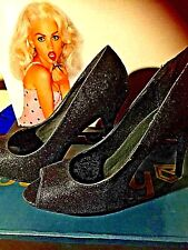 Size 8 Black Glitter Heels Zodiac  BNIB LIPSTIK fashion shoes Make a statement