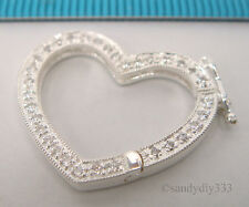 1x STERLING SILVER CZ CRYSTAL HEART SHORTENER CONNECTOR NECKLACE CLASP #1234
