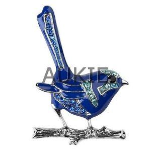 Enamel Blue Wren Brooch with Crystals